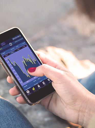 smartphone displaying data on mobile app